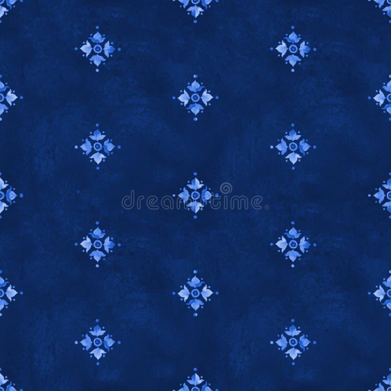 Nahtloses Muster der Aquarellkönigsblauvelour-Wiederbelebung lizenzfreie abbildung