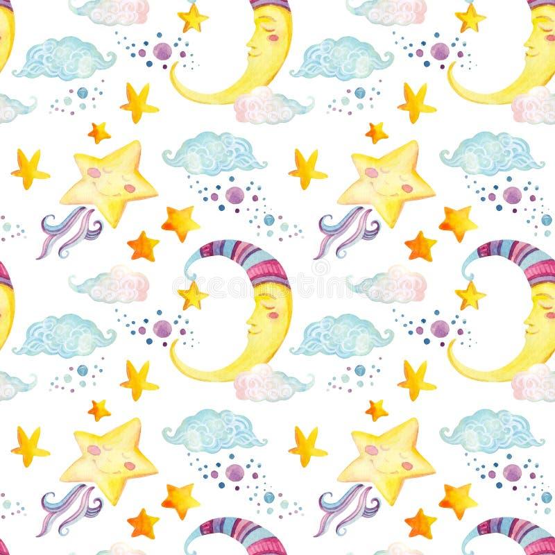 Nahtloses Muster der Aquarellmärchen mit magischer Sonne, Mond, nettem kleinem Stern und feenhaften Wolken vektor abbildung