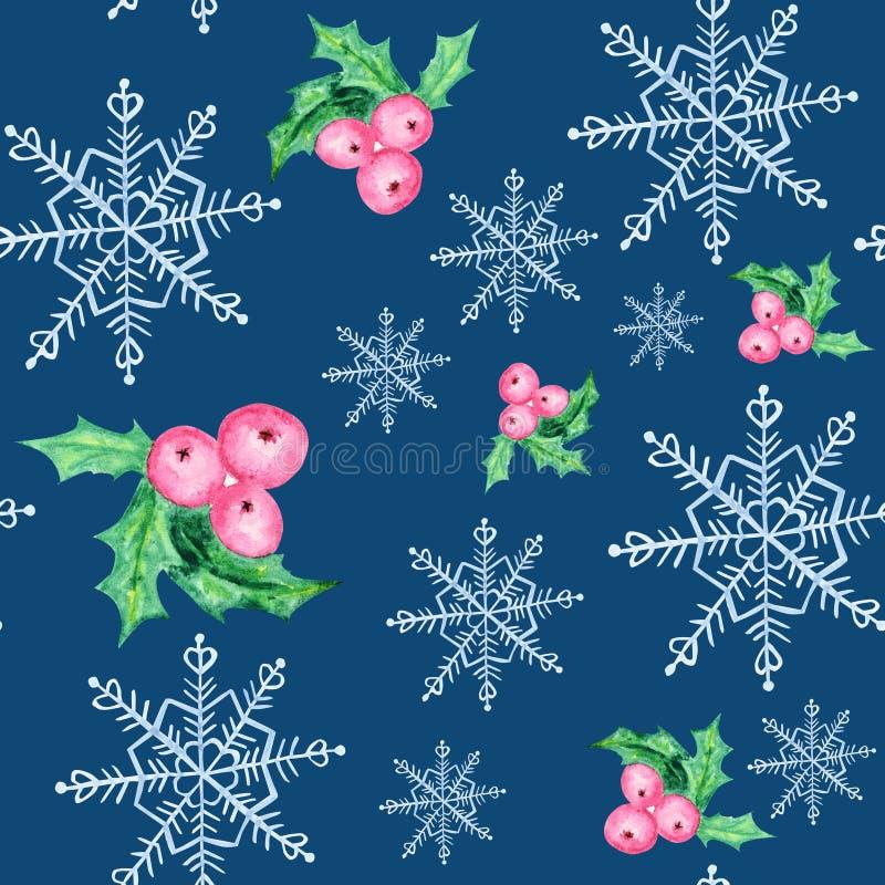 Nahtloses Muster der Aquarellschneeflocken und der Weihnachtsbeeren Blaue Schneeflocke auf einem blauen Hintergrund Winterurlaube stock abbildung