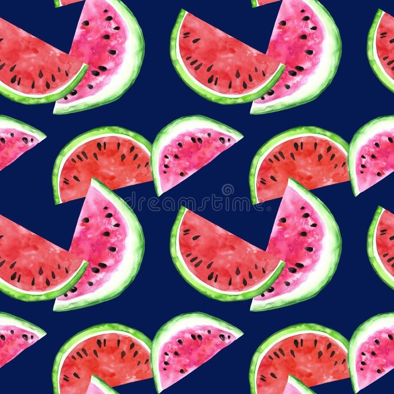 Nahtloses Muster der Aquarellwassermelonen-Scheibe Reifer Fruchthintergrund des Sommers Saftiger Fruchtdruck Marineblauhintergrun vektor abbildung