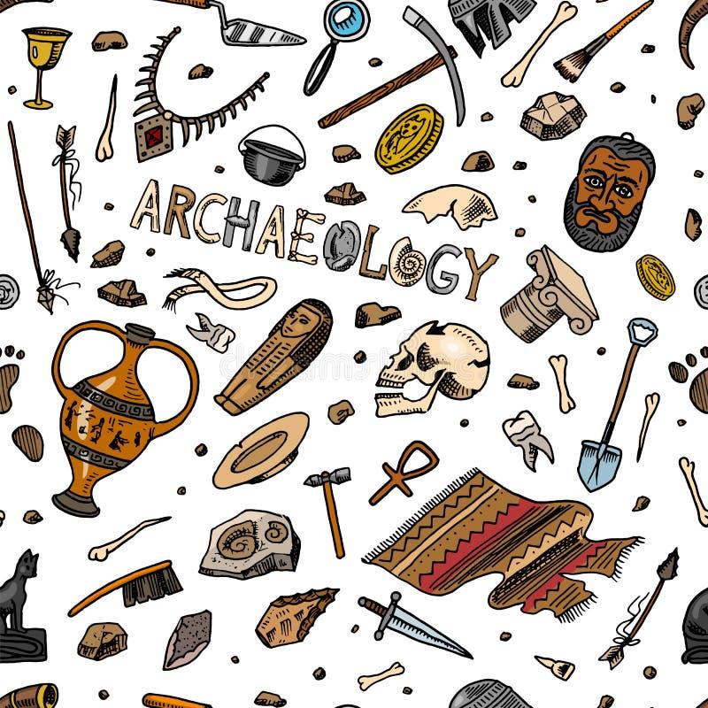 Nahtloses Muster der Archäologie Werkzeuge und Wissenschaftsausrüstung, Artefakte in der Weinleseart Ausgegrabene Fossilien und a stock abbildung