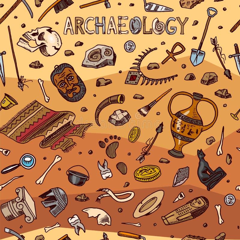 Nahtloses Muster der Archäologie Werkzeuge und Wissenschaftsausrüstung, Artefakte in der Weinleseart Ausgegrabene Fossilien und a lizenzfreie abbildung
