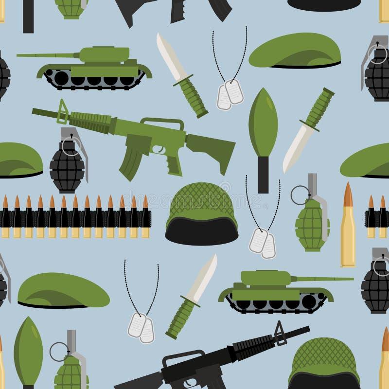 Nahtloses Muster der Armee Bewaffnet Hintergrund Behälter und Handgranate stock abbildung