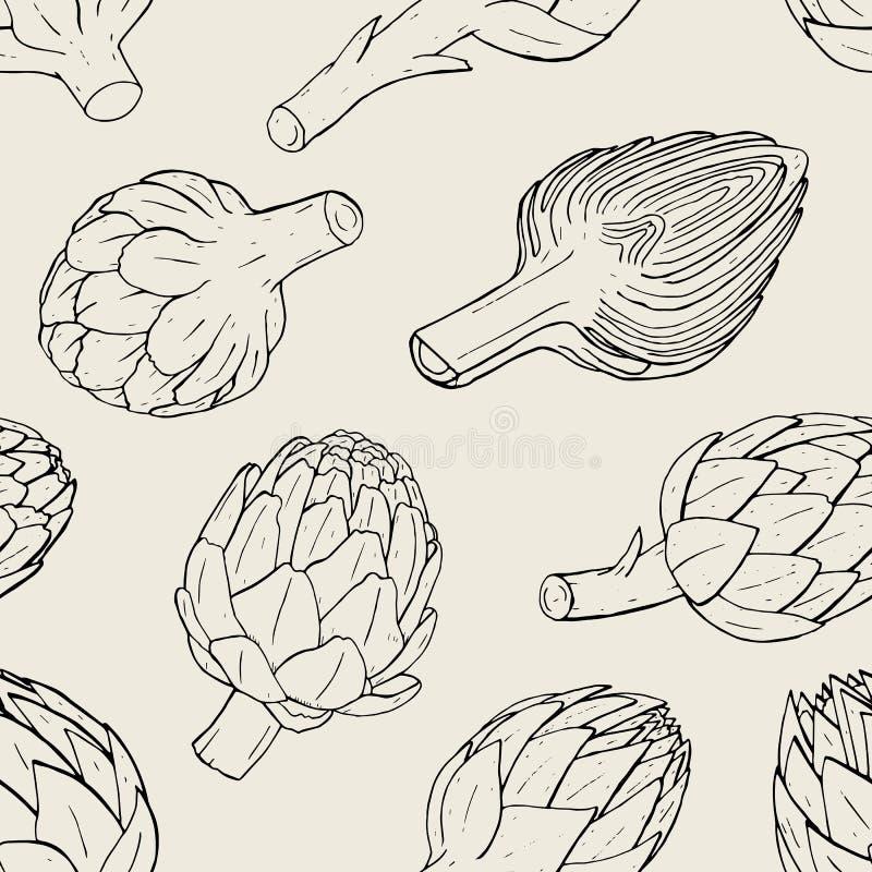 Nahtloses Muster der Artischocke mit Hand gezeichneter Anlage im Schnitt Konturnvektorillustration lizenzfreie abbildung