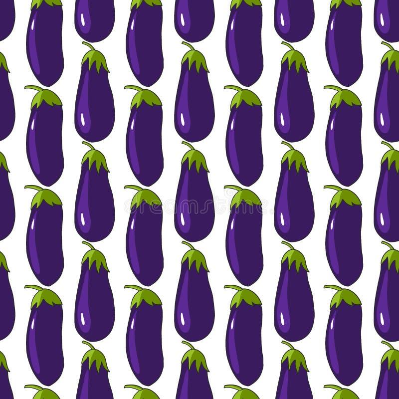 Nahtloses Muster der Auberginenaubergine auf weißem Hintergrund Gemüsemuster stock abbildung