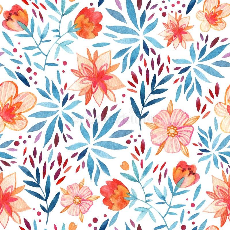 Nahtloses Muster der aufwändigen Blumen des Aquarells vektor abbildung