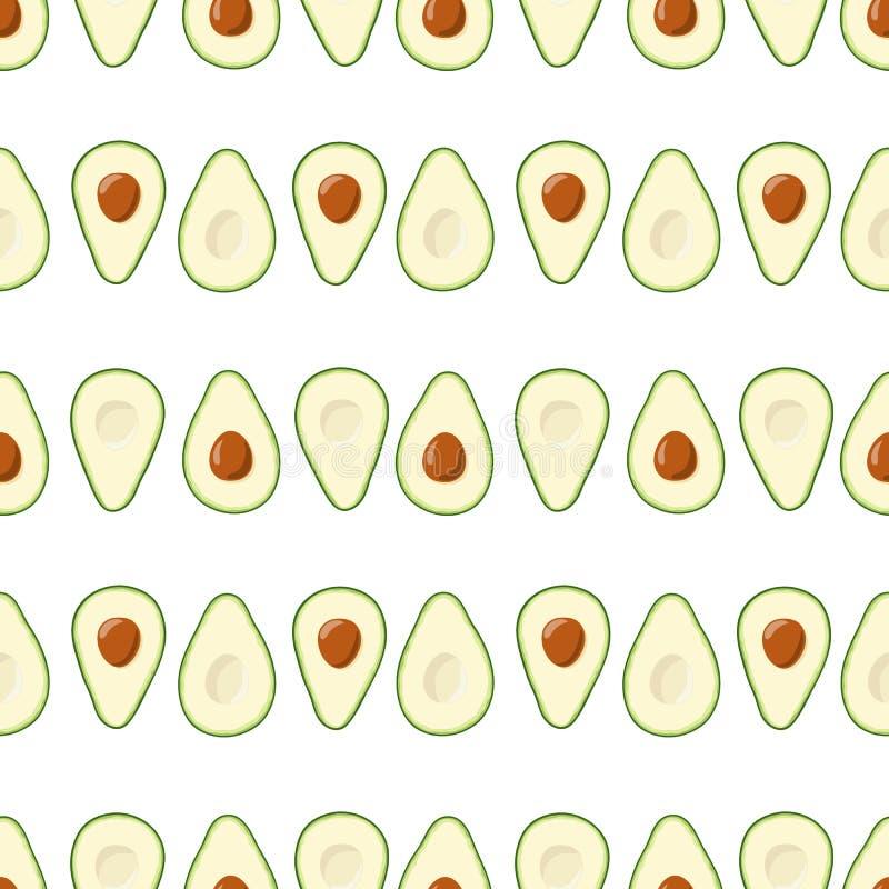 Nahtloses Muster der Avocado Hälften der frischen geschnittenen Avocado mit Grube auf weißem Hintergrund Vector nahtloses Muster vektor abbildung