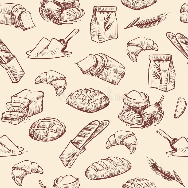 Nahtloses Muster der Bäckerei Brothörnchengebäckgebäck-Weizenlaib schnitt weißes Rollengezogene Weinleseskizze lizenzfreie abbildung