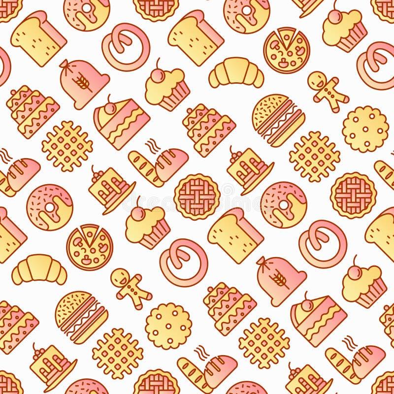 Nahtloses Muster der Bäckerei mit dünner Linie Ikonen: Toastbrot, Pfannkuchen, Mehl, Hörnchen, Donut, Brezel, Plätzchen, Lebkuche lizenzfreie abbildung