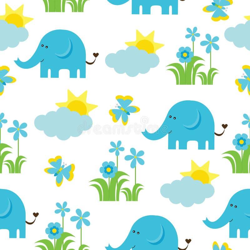 Nahtloses Muster der Babyparty mit nettem Elefanten, Schmetterling, Blumen und Sonne lizenzfreie abbildung