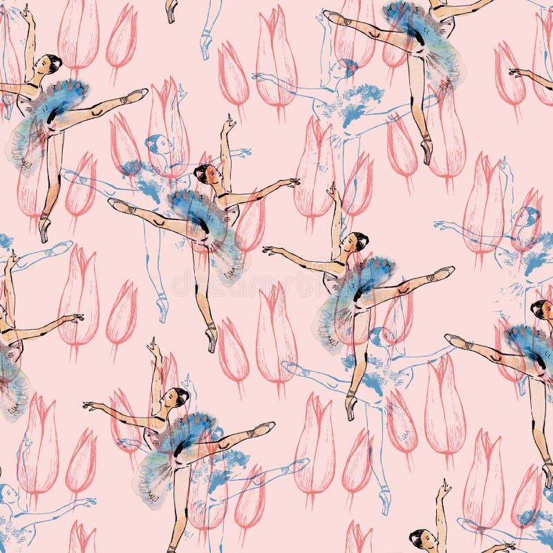 Nahtloses Muster der Balletttänzer vektor abbildung
