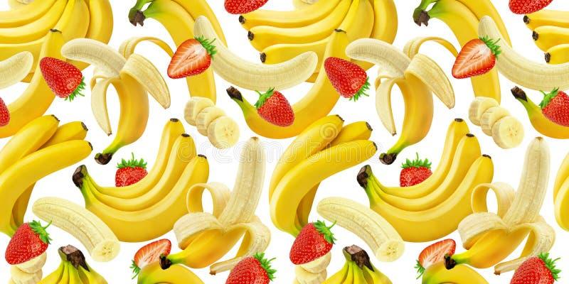 Nahtloses Muster der Banane und der Erdbeere, fallende Bananen und Erdbeeren lokalisiert auf weißem Hintergrund mit Beschneidungs lizenzfreie abbildung
