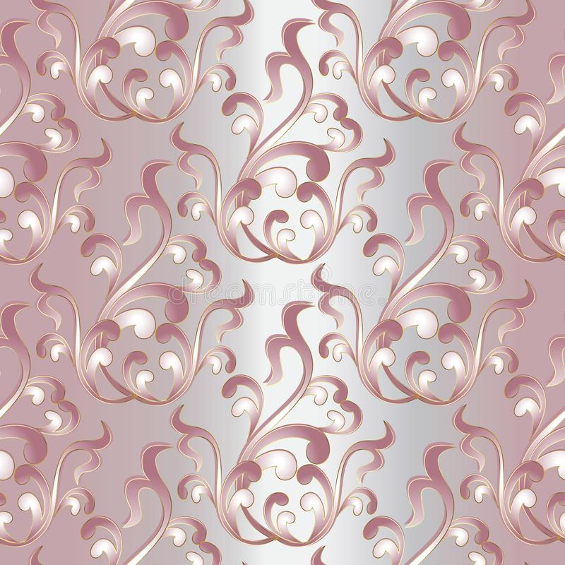 Nahtloses Muster der barocken Damastweinlese Hellrosa Blumen-backg vektor abbildung