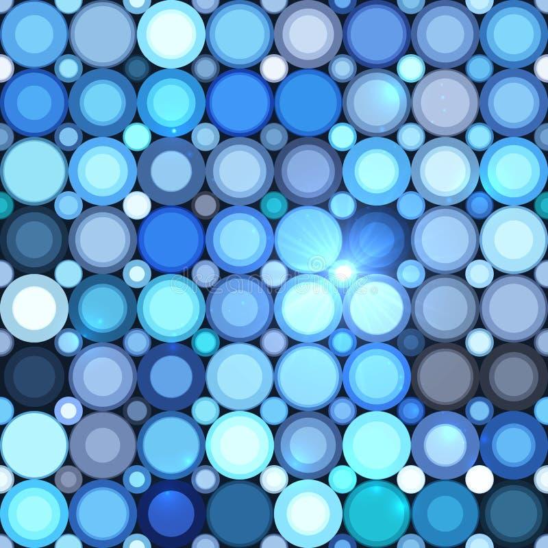 Nahtloses Muster der blauen abstrakten glänzenden Punkte lizenzfreie abbildung