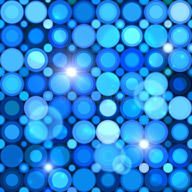 Nahtloses Muster der blauen abstrakten glänzenden Punkte vektor abbildung