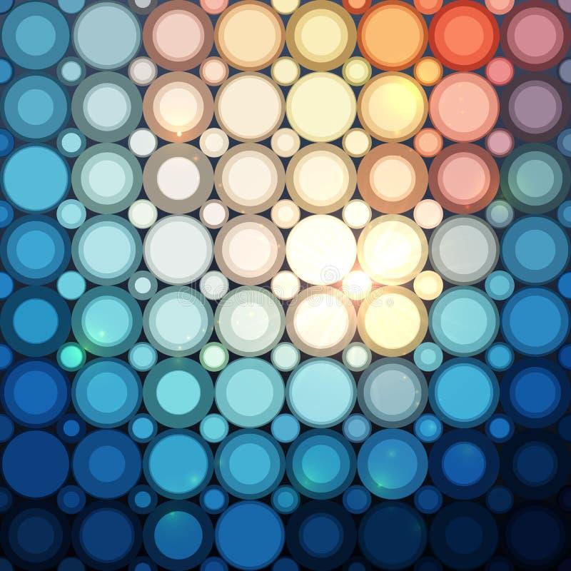 Nahtloses Muster der blauen abstrakten glänzenden Punkte stock abbildung