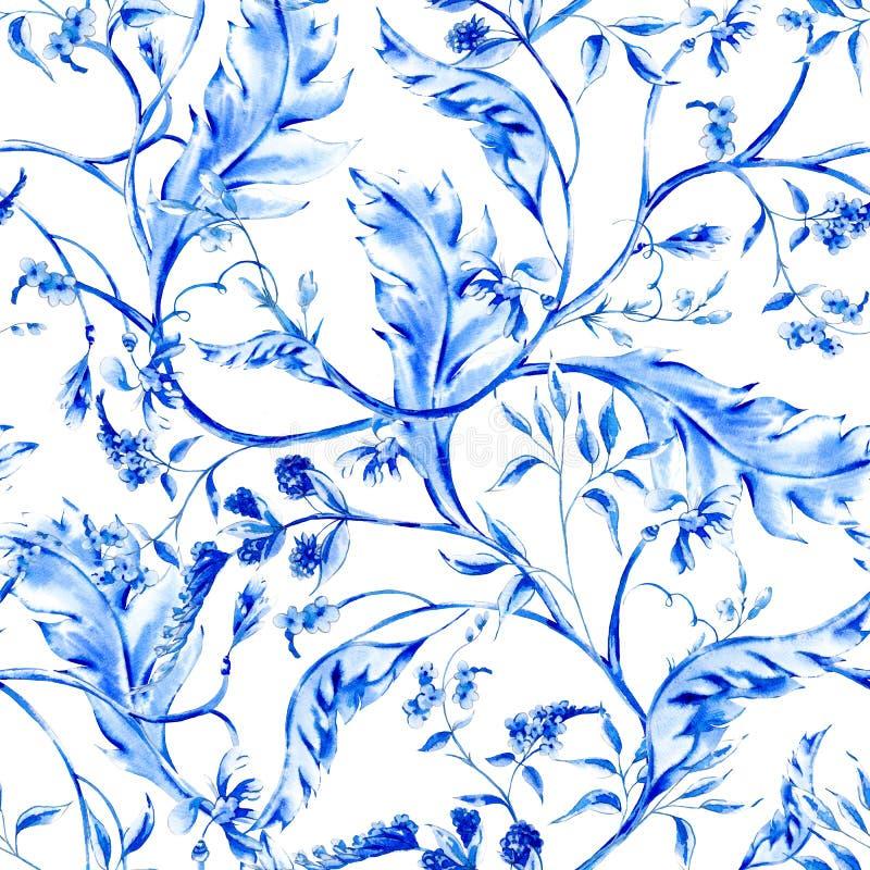 Nahtloses Muster der blauen Aquarellblume vektor abbildung