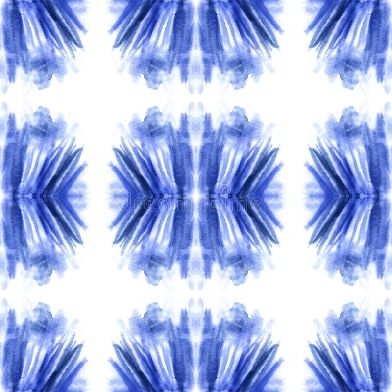 Nahtloses Muster der blauen Aquarellzusammenfassung, endlose Beschaffenheit, blauer Fleck stockfotografie