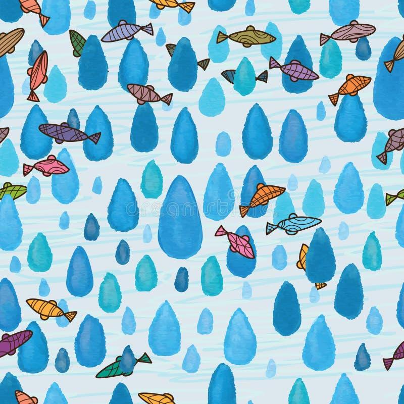 Nahtloses Muster der blauen Fische des Tropfenaquarells stock abbildung