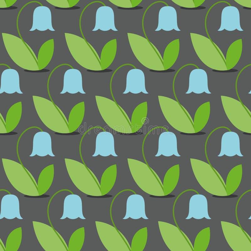 Nahtloses Muster der blauen Glocken Blumenvektorhintergrund Retro- Fa vektor abbildung