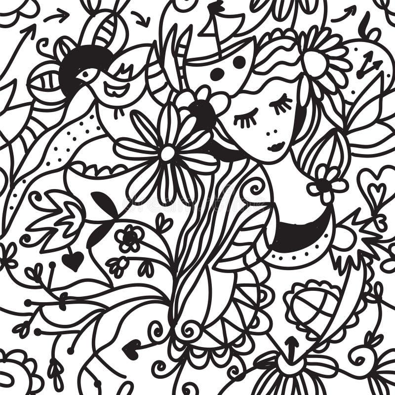 Nahtloses Muster der Blumenfrau - Modekonzept vektor abbildung