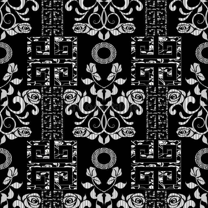 Nahtloses Muster der Blumenrosen Schwarzer Vektorweinlesehintergrund lizenzfreie abbildung