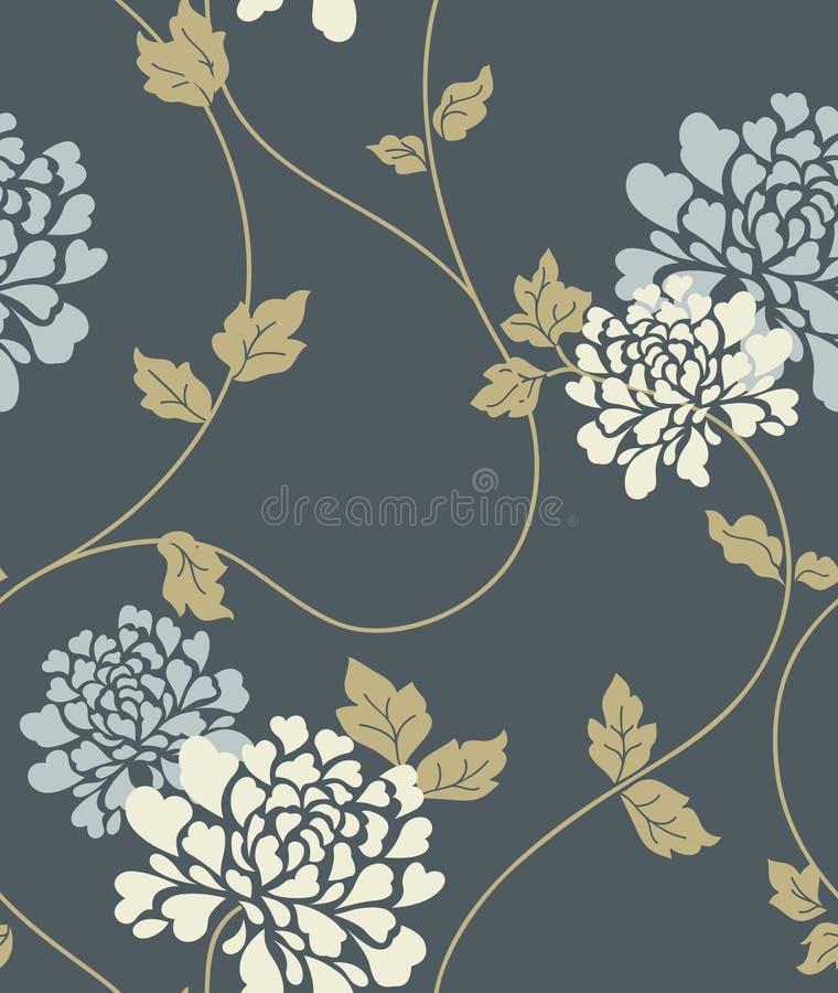 Nahtloses Muster der Blumenweinlese stock abbildung