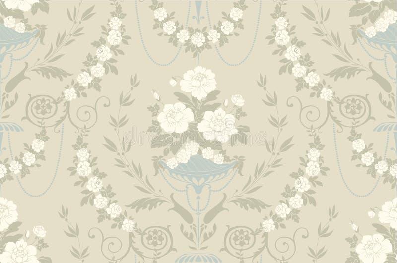 Nahtloses Muster der Blumenweinlese vektor abbildung