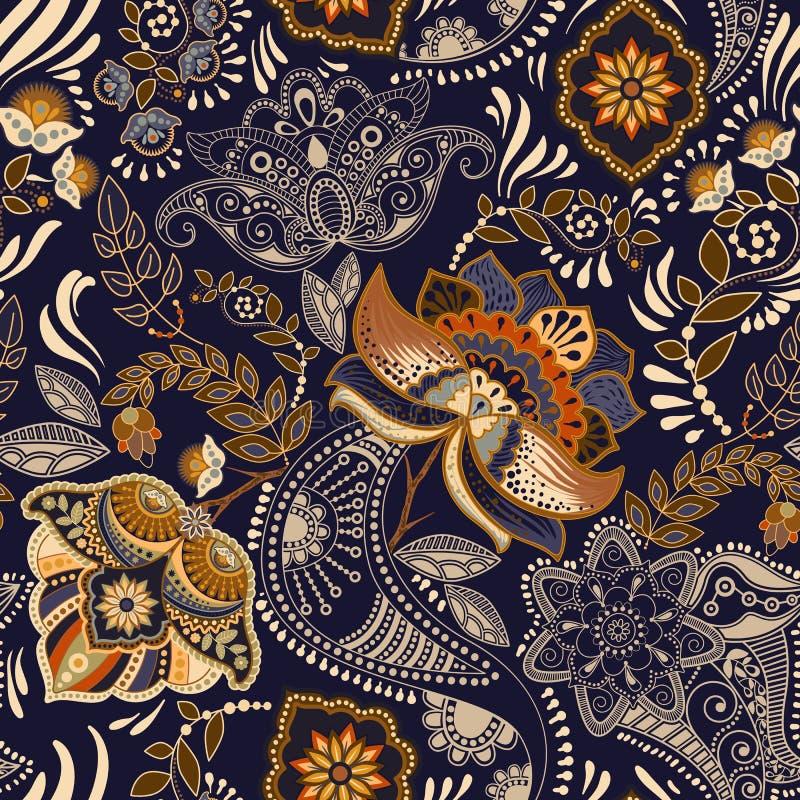 Nahtloses Muster der Blumenweinlese Retro- Betriebsart Paisley-Motiv Bunte Damastverzierung lizenzfreie abbildung