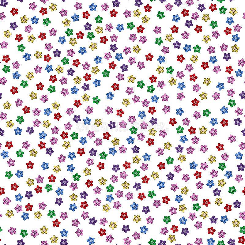 Nahtloses Muster der bunten Blume auf wei?em Hintergrund Papierdruckentwurf Abstrakte Retro- Vektorillustration Modisches Gewebe, stock abbildung