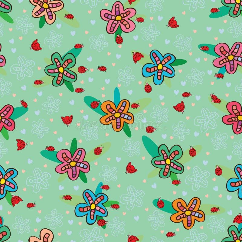 Nahtloses Muster der bunten Blume des Marienkäfers stock abbildung