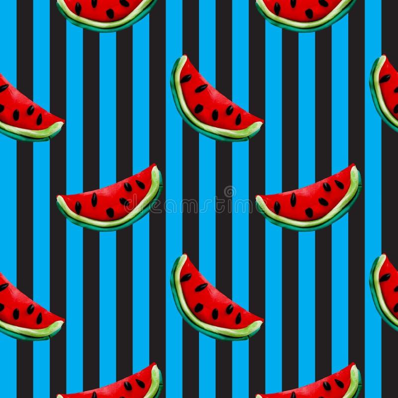 Nahtloses Muster der bunten des Plasticine handgemachten Stücke der Wassermelone 3D auf abgestreiftem Hintergrund stock abbildung
