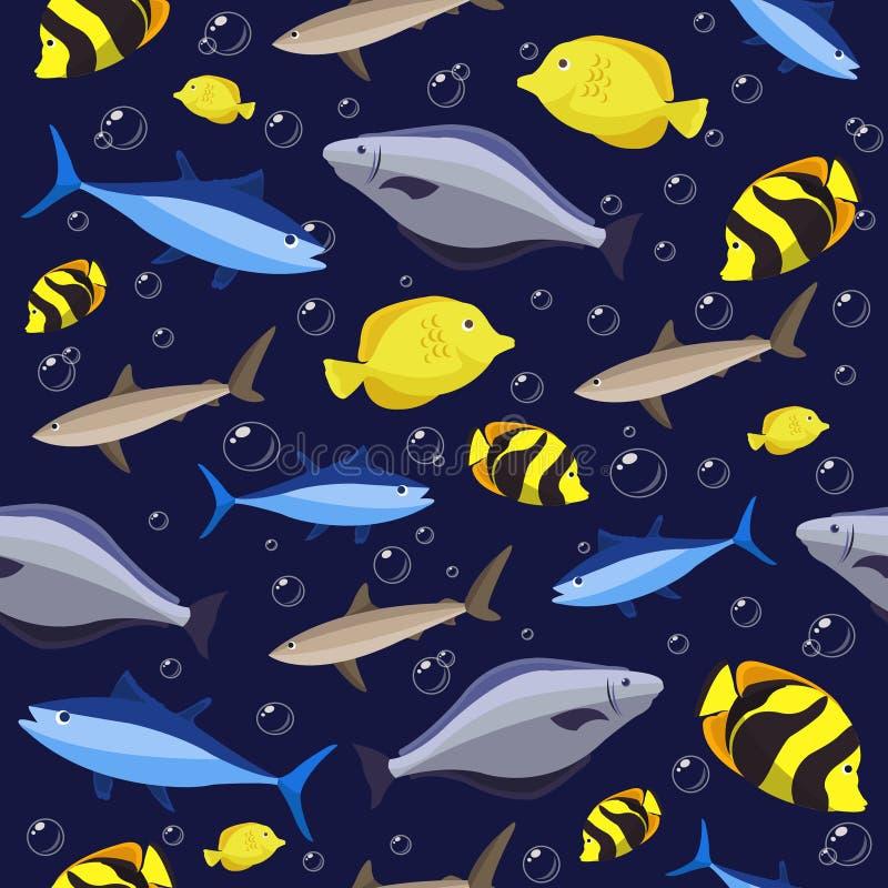 Nahtloses Muster der bunten Fische Ozeanfische und -krabben Auch im corel abgehobenen Betrag lizenzfreie stockbilder