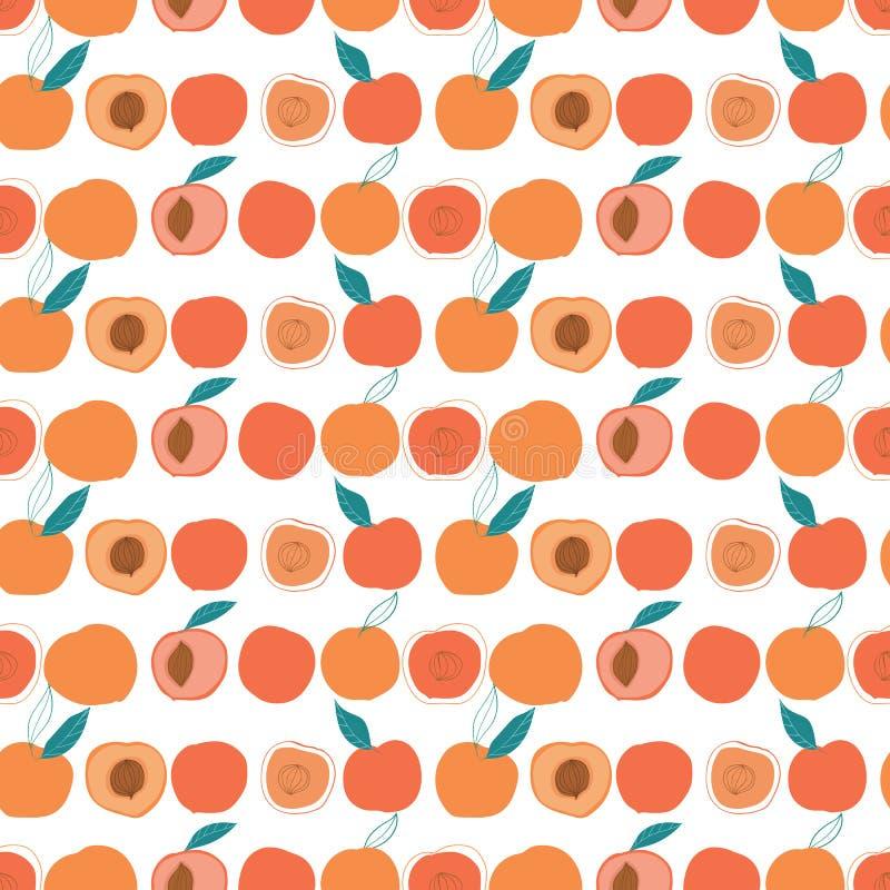 Nahtloses Muster der bunten geschmackvollen modischen Pfirsiche des Vektors auf hellem Hintergrund vektor abbildung