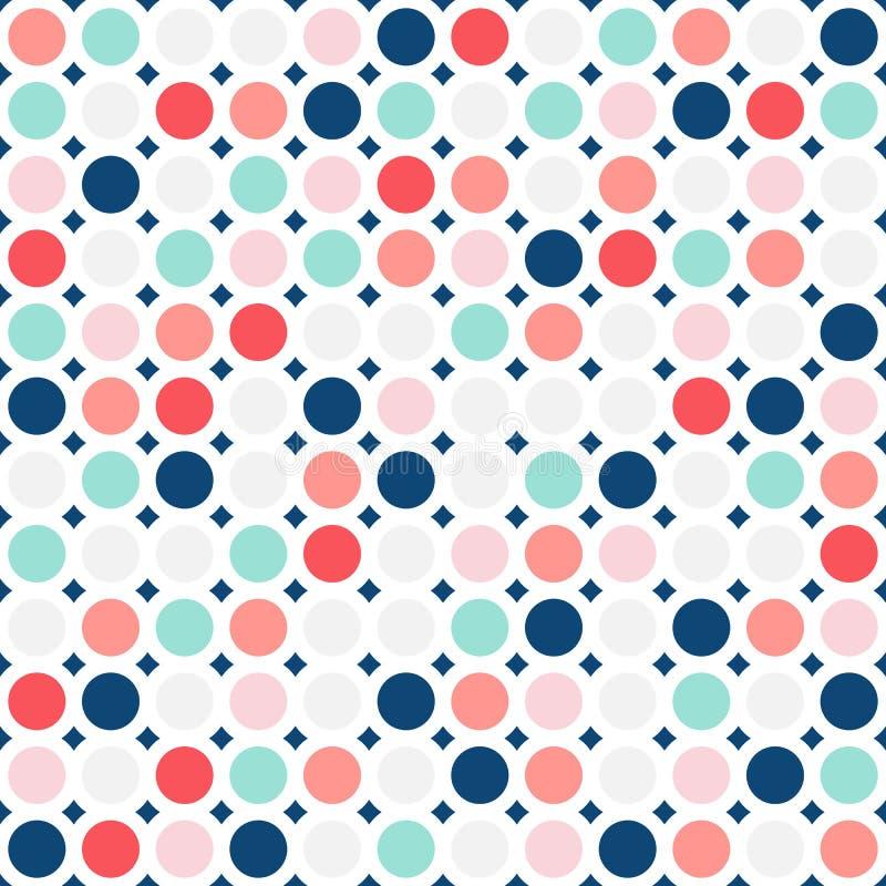Nahtloses Muster der bunten Kreise Einfache Punktbeschaffenheit Nahtloser Kindhintergrund lizenzfreie abbildung