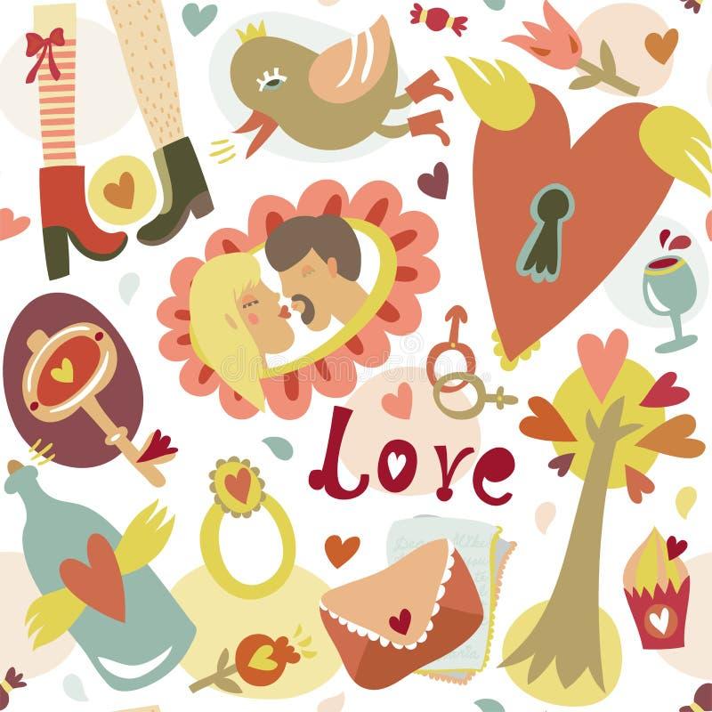 Nahtloses Muster der bunten Liebe der Karikatur romantischen stock abbildung