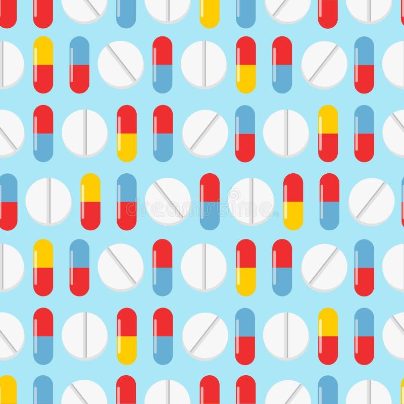 Nahtloses Muster der bunten Pillen Es kann f?r Leistung der Planungsarbeit notwendig sein Realistische Tabletten der nahtlosen Be stock abbildung