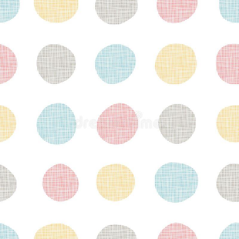 Nahtloses Muster der bunten Punkte, handdrawn Kreise mit Leinenstrukturschmutz-Effekthintergrund Groß für moderne Volkstapete, vektor abbildung