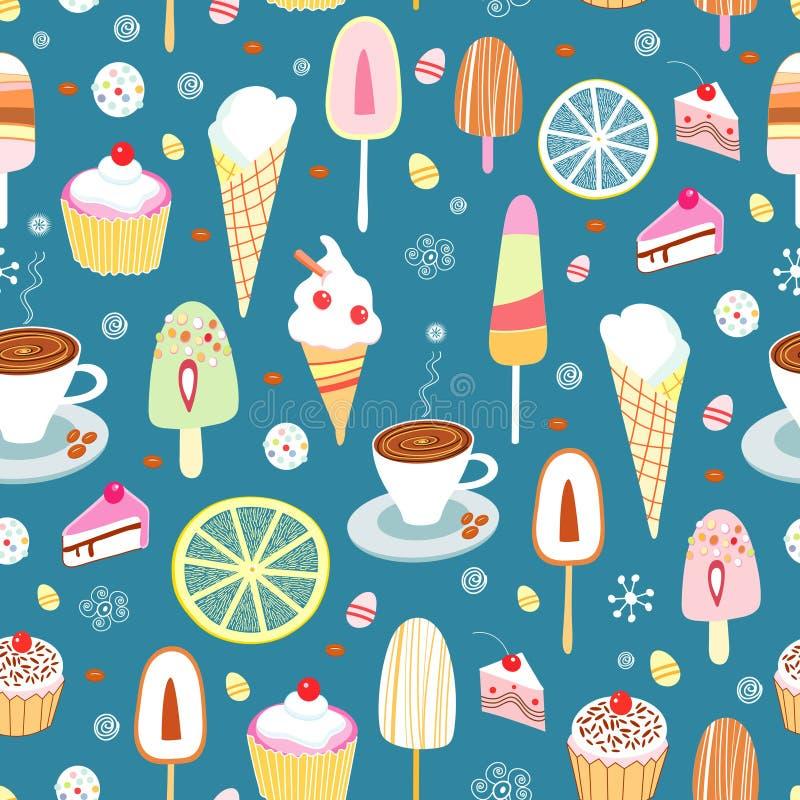 Nahtloses Muster der bunten Süßigkeit und der Eiscreme vektor abbildung