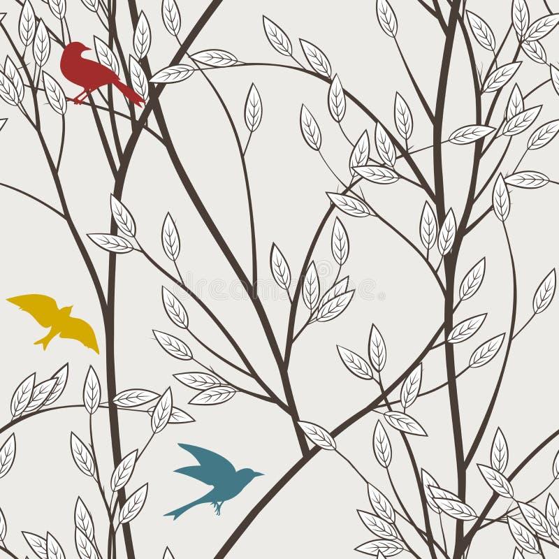 Nahtloses Muster der bunten Vögel lizenzfreie abbildung