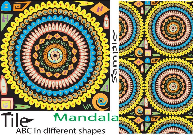 Nahtloses Muster der bunten Weinlese mit den Blumen- und Mandala elemen vektor abbildung