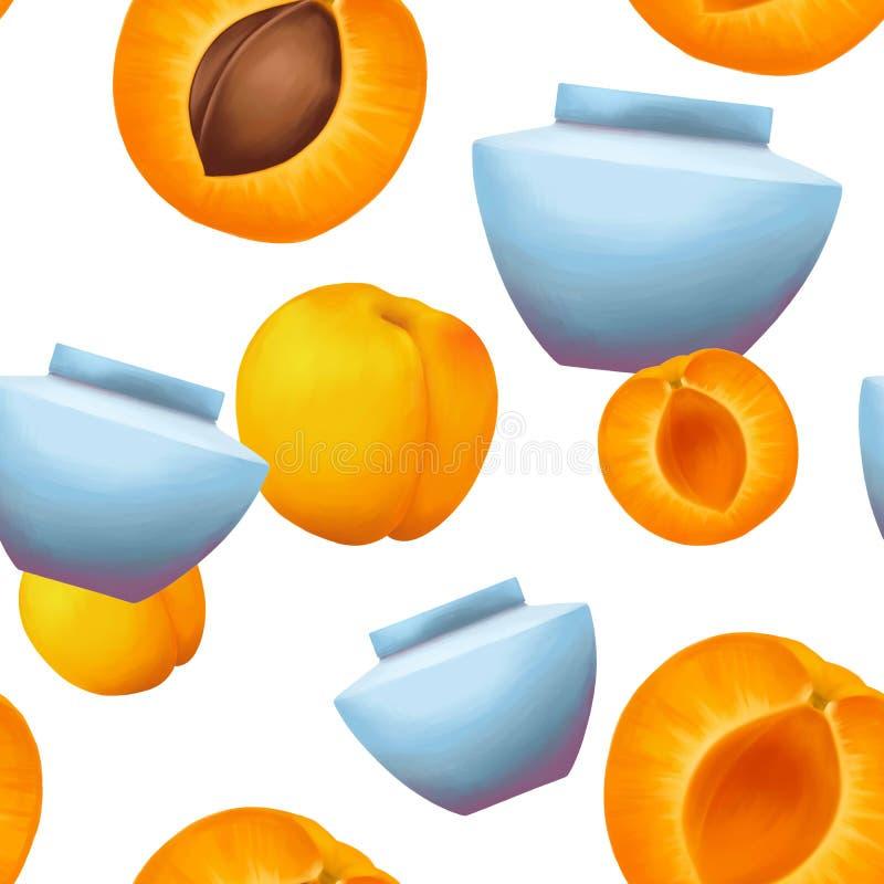 Nahtloses Muster der Cremetiegel und der Aprikosen vektor abbildung
