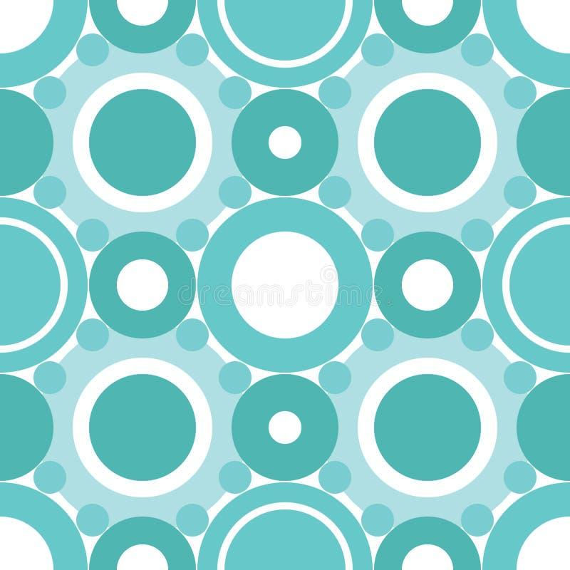 Nahtloses Muster der cyan-blauen Kreise vektor abbildung