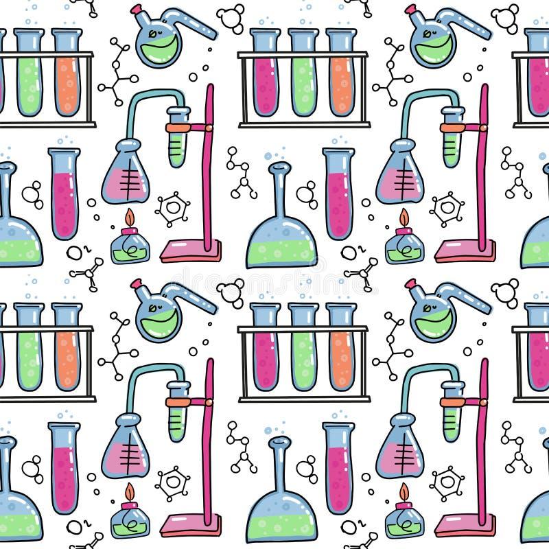 Nahtloses Muster der dekorative lokalisierten Vektorillustration des Farbhandgezogene chemische Laborwissenschaftliche Experiment lizenzfreie abbildung