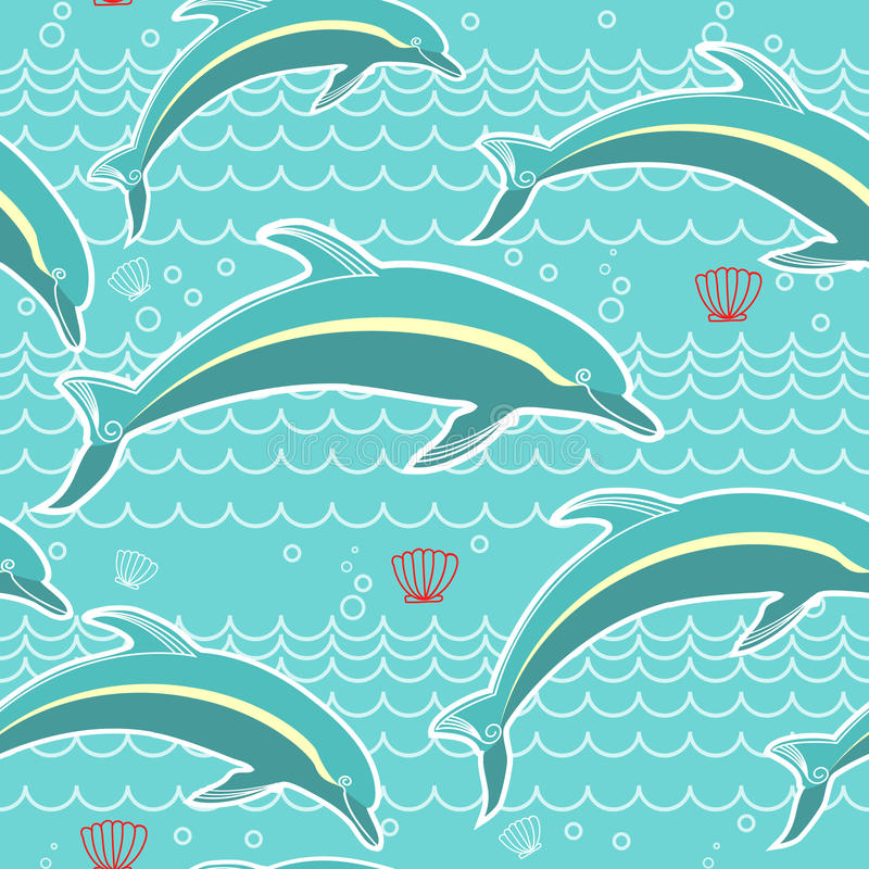 Nahtloses Muster der Delphine. Vektorblaues Meerbackgrou vektor abbildung