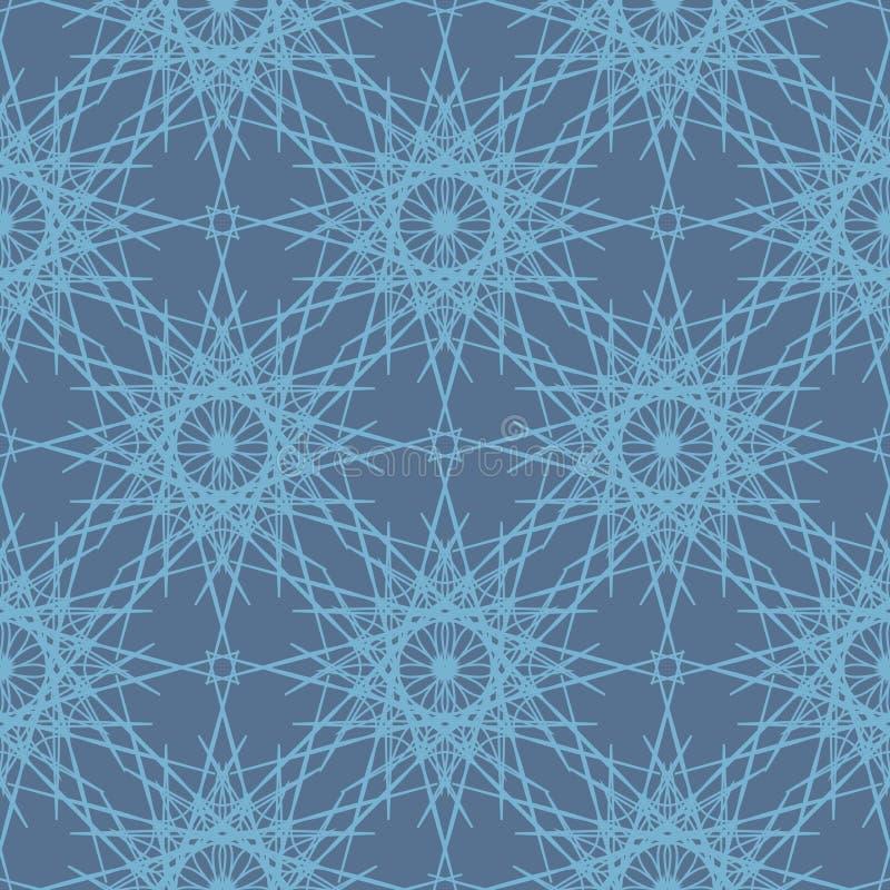 Nahtloses Muster der Desaturated blauen Spitzeschneeflocken stock abbildung