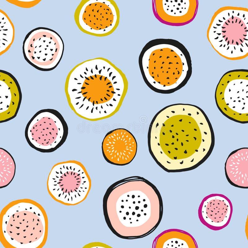 Nahtloses Muster der Drachefrucht Vektorvorlage ist- zum Download betriebsbereit Stilvolle Handgezogener Kreisgewebeentwurf vektor abbildung