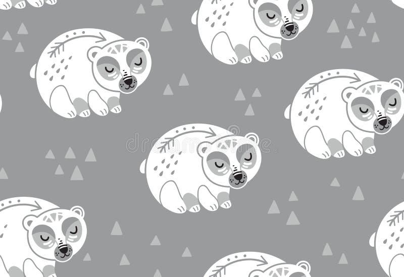 Nahtloses Muster der Eisbären in den weißen und grauen Farben lizenzfreie abbildung