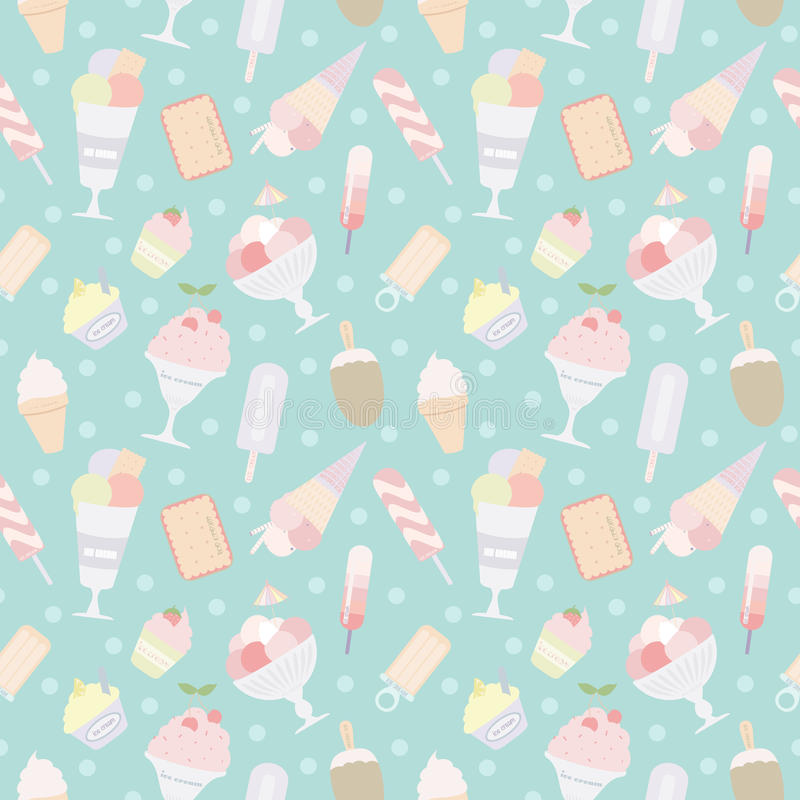 Nahtloses Muster der Eiscreme stockfotografie