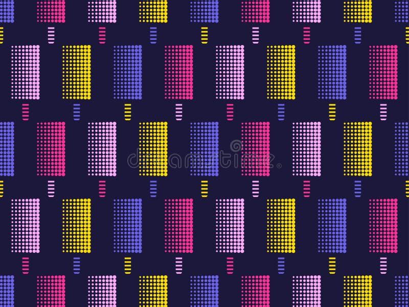 Nahtloses Muster der Eiscreme-Pop-Art Punkte sind mehrfarbig, punktiert Vektor vektor abbildung